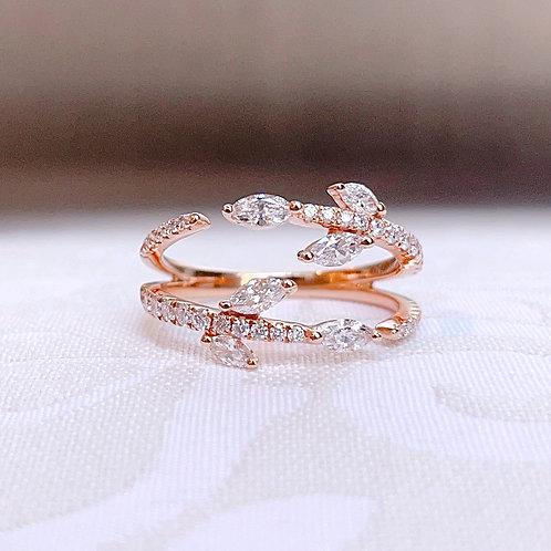 18金PG オリーブブランチ リング ダイヤモンド