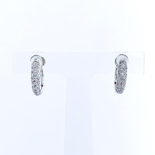 18金WG パヴェフープ ダイヤモンド イヤリング ネジ式