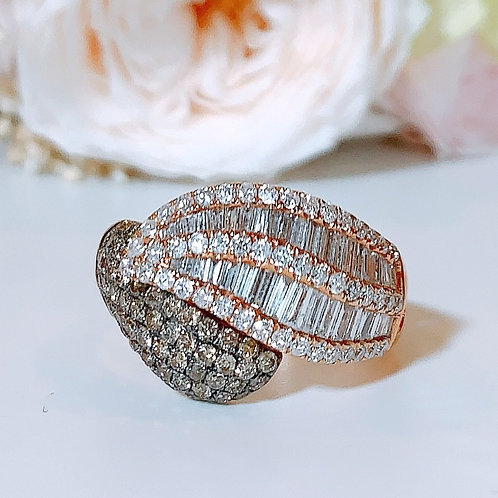 18金WG フェザーリング ブラウン&ホワイト ダイヤモンド
