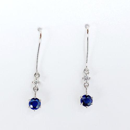 【プチ】18金WG サファイヤ&ダイヤモンド ピアス