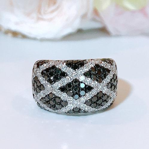 18金WG パヴェチェックリング ブラック&ホワイト ダイヤモンド