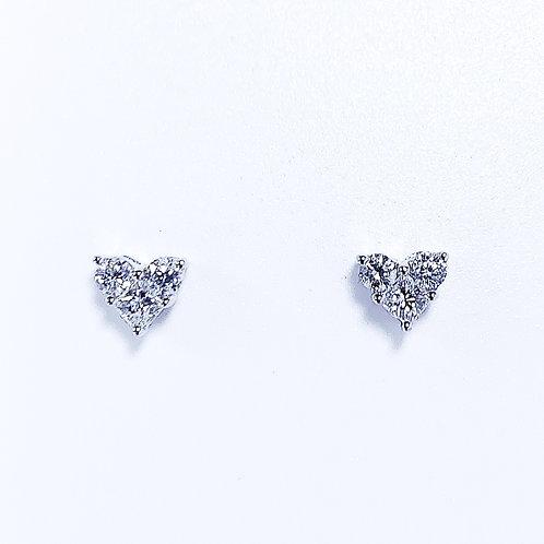 18金WG 3ストーンハート ピアス ダイヤモンド