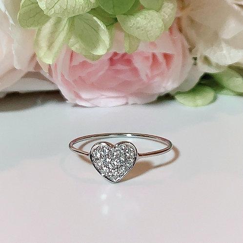 【プチ】18金WG ハートリング ダイヤモンド
