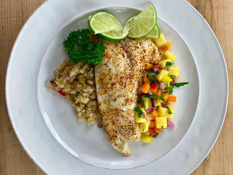 Baked Tilapia with Pineapple Salsa over Quinoa