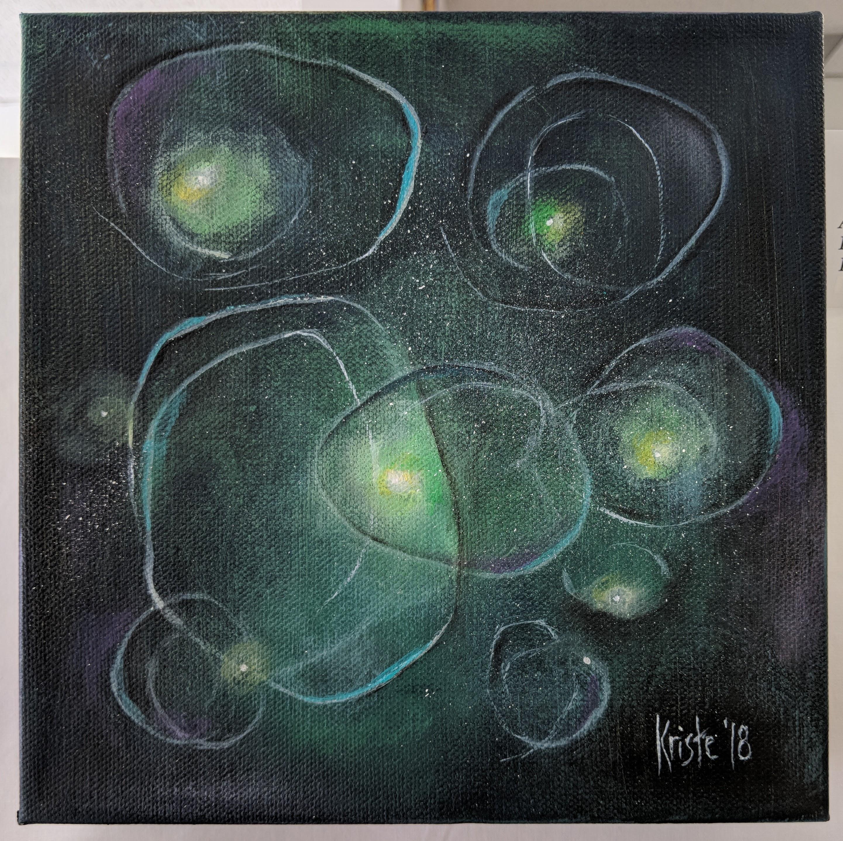 """Fleeting Thoughts III 8""""x8"""" acrylics"""