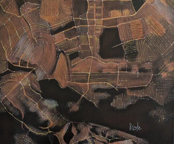 """Copenhagen 12"""" x 12"""" acrylics"""