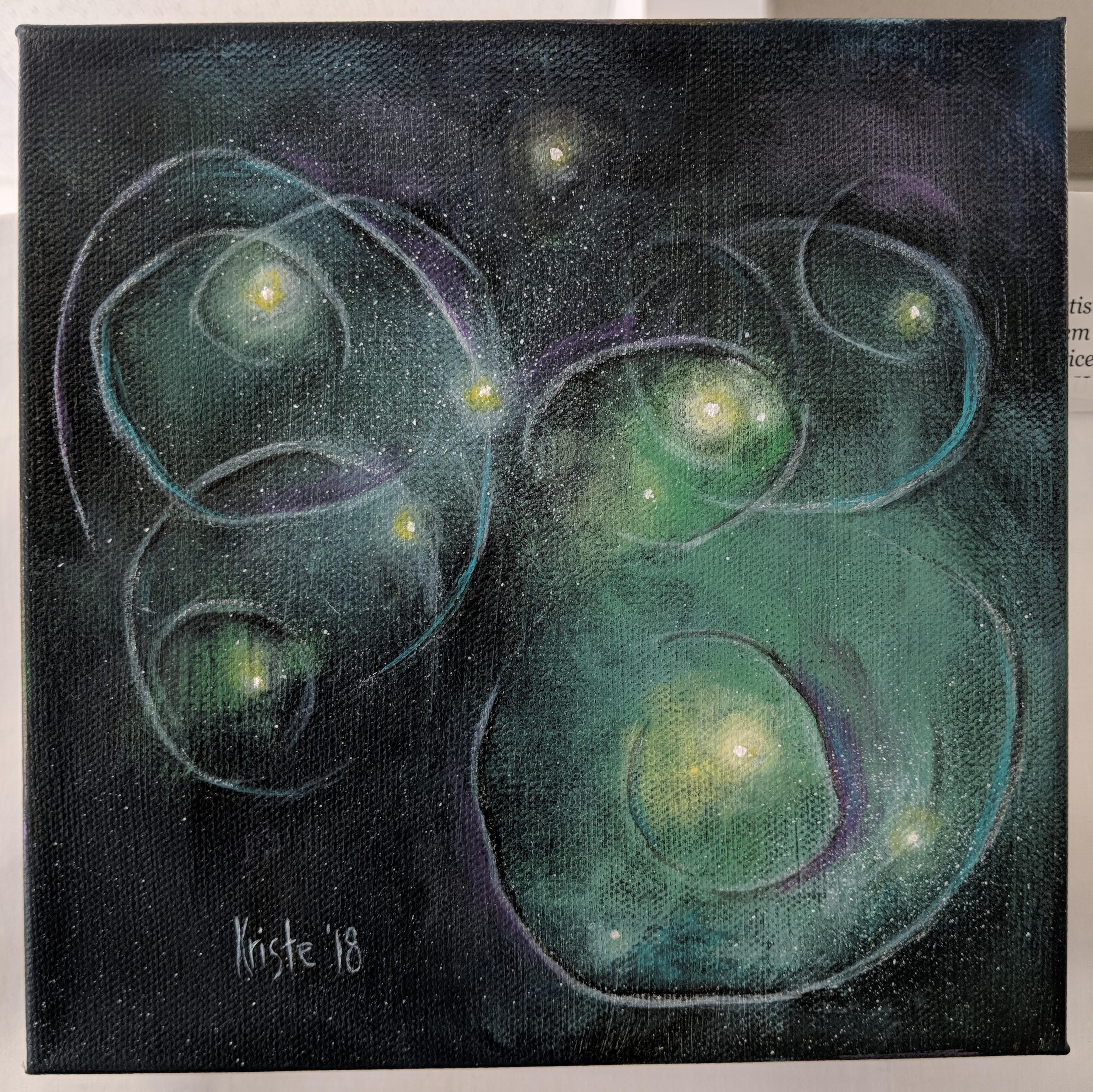 """Fleeting Thoughts II 8""""x 8"""" acrylics"""