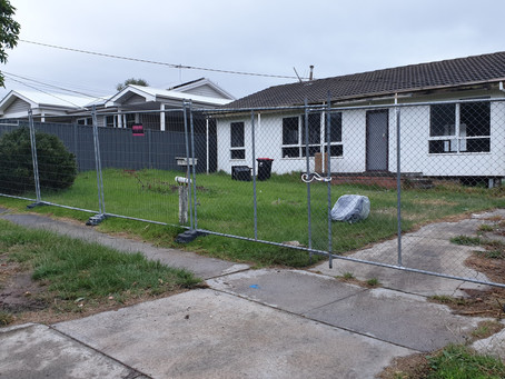 Another one down, In Melbourne town.   Temporary fencing hire at it's best