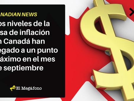 Los niveles de la tasa de inflación en Canadá han llegado a un punto máximo en el mes de septiembre