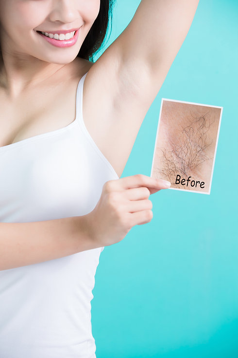 beauty woman take picture with under arm