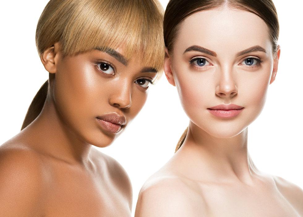 Multi-ethnic beauty two woman with dakr