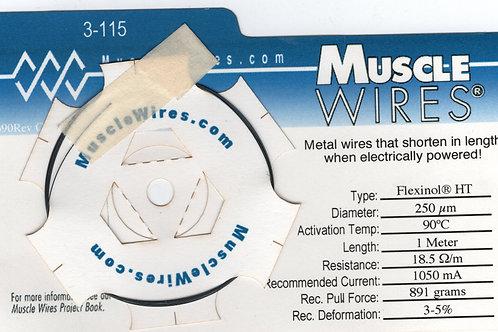 Flexinol wire 250μ(0.25mm), 1Meter, 90°C