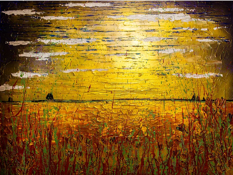 Image of an acrylic painting of a golden meadow as the sun sets by Emma Rigarlsford, Joyous Misfit.