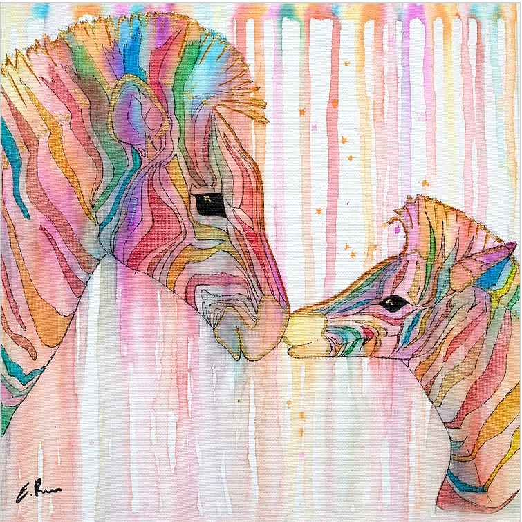 Image of Colourful Zebras, a rainbow watercolour painting with parent and child zebras kissing by artist Emma Rigarlsford, Joyous Misfit.