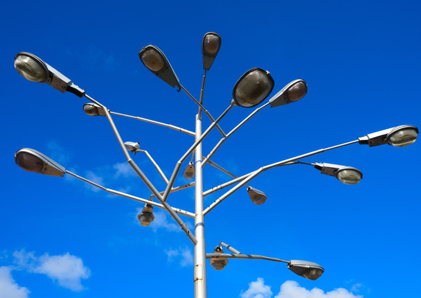 Collection of different street lamps