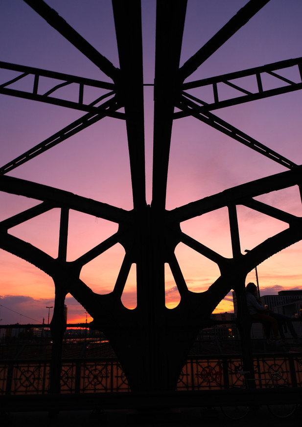 Steel bridge architecture in sunset
