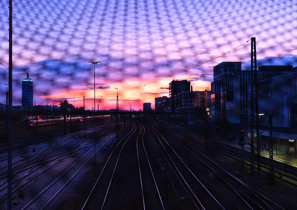 Urban sunset on train tracks