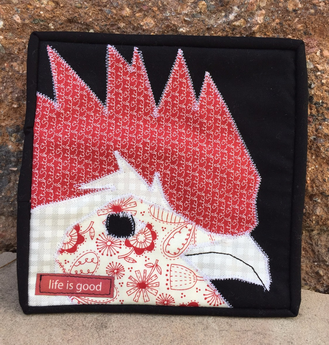 White Leghorn Rooster Applique