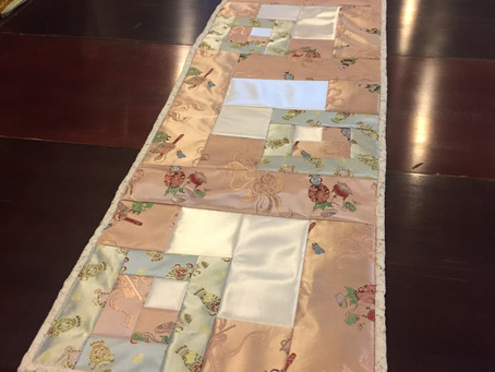 Table Runners Made from Silk Dresses and Lace