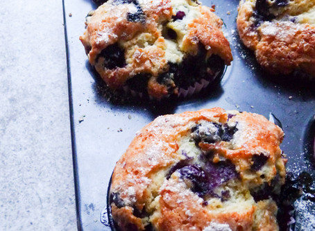 Lemon and Blueberry Muffins (shmaltz muffins)