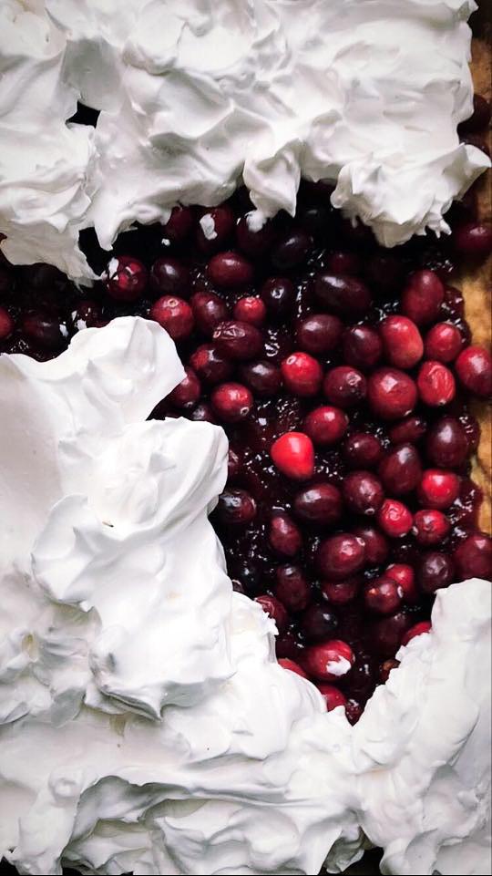 Cranberry and Orange Meringue Cake