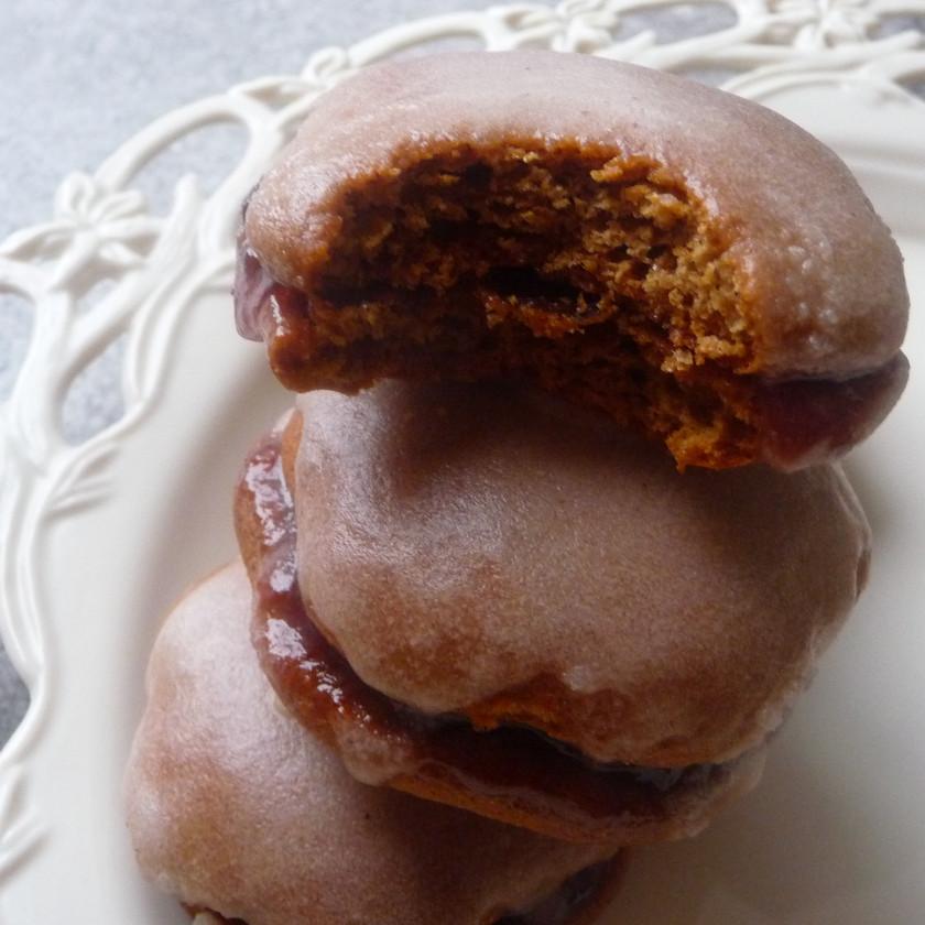 Soft Gingerbread Cookie Sandwich with Bourbon Glaze