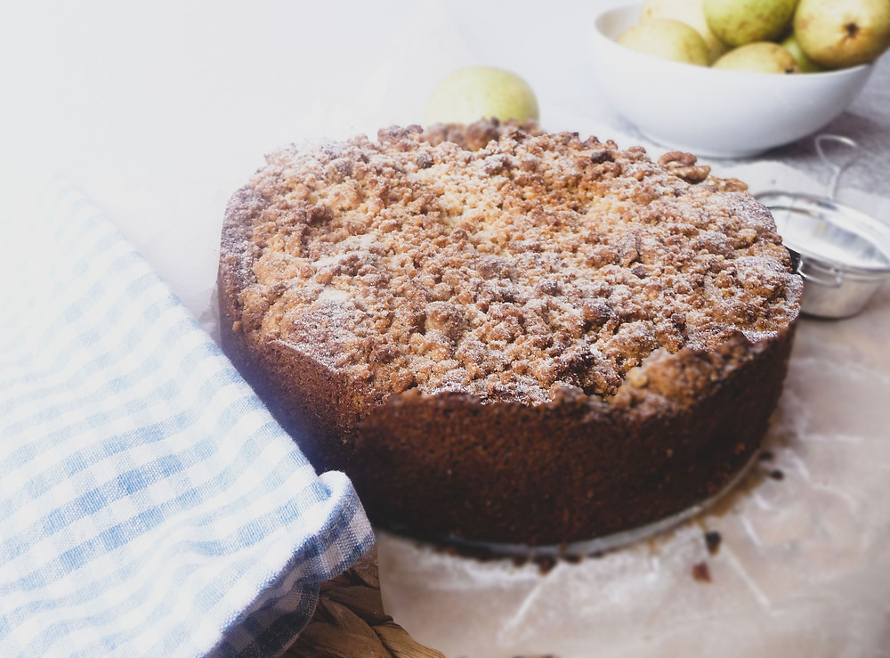 Pear and Pecan Cake with Pecan Streusel