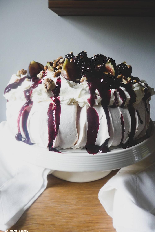 Fig and Blackberry Pavlova with Honey-Lemon Mascarpone Cream