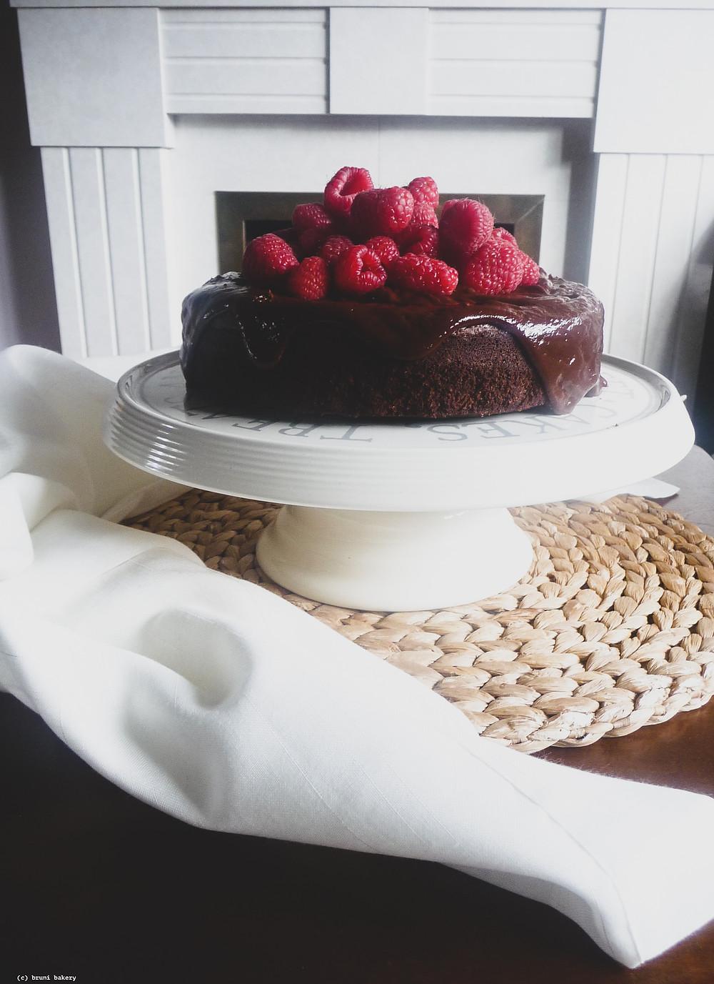 Flourless Chocolate Hazelnut Cake with Chocolate Yogurt Ganache