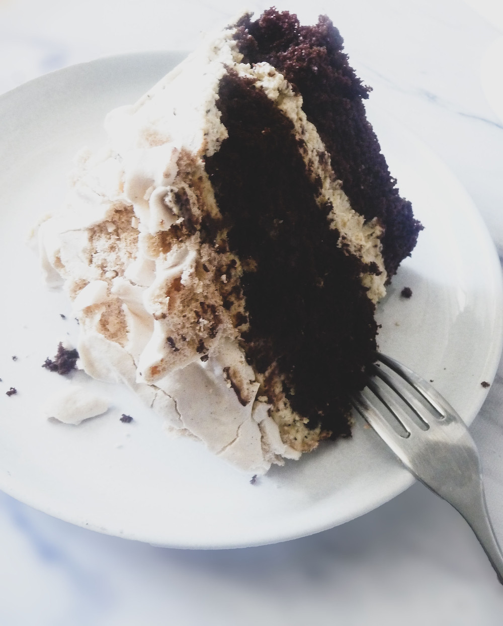 Double Chocolate Cake with Coffee Cream and Cinnamon Meringue