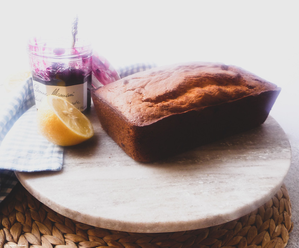 Lemon Loaf with Blackcurrant Swirl