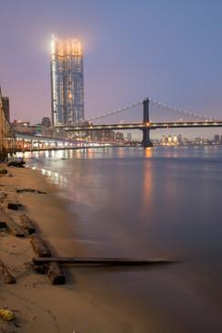 Manhattan Bridge in the Evening Fog