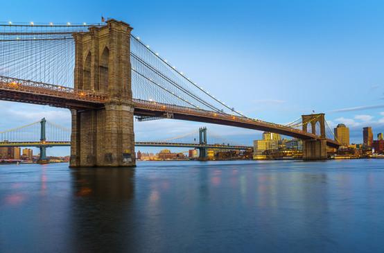 Lower NYC Bridges at Sunset