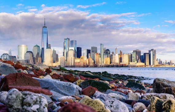 NYC Skyline over Rocks