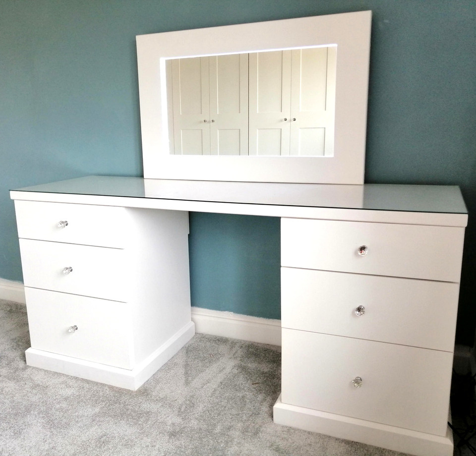 Dressing Table with Glass Top & Led Mirror-Rayleigh-April 2019