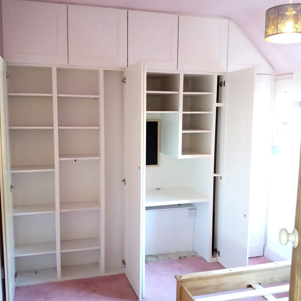 Fitted Wardrobes for Teenagers Room with Built in Desk-Leigh On Sea- October 2018