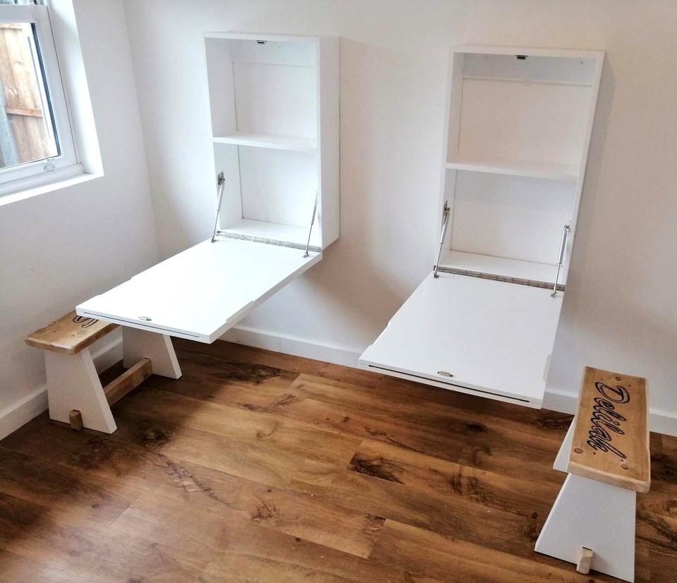 Fold Down Desks,Bespoke Personalised Stools & Shelf