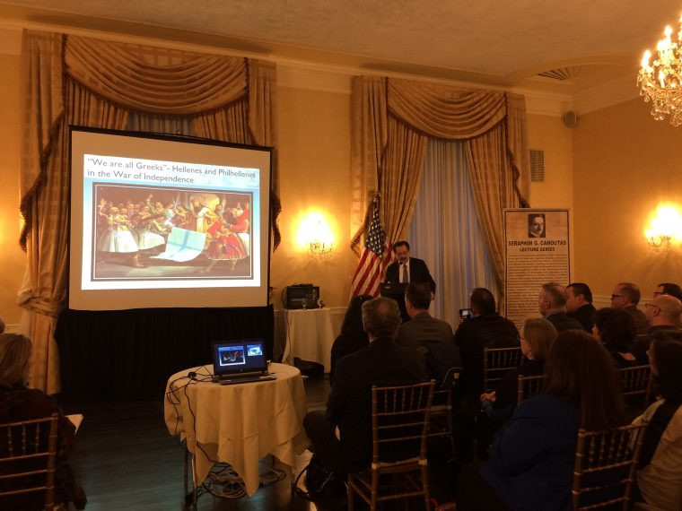 AHEPA District 6 Director of Hellenism and EMBCA President and Founder Louis Katsos at the podium. Photo by Eleni Sakellis