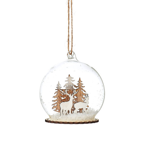 Stags In Snow Dome Bauble