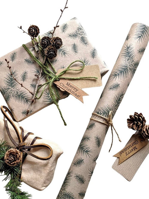 Pine cone print kraft wrapping paper 3m