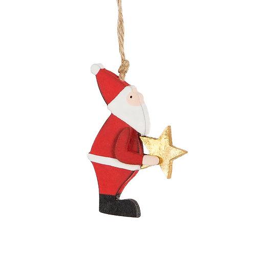 Wooden Santa Holding Star Hanging Decoration