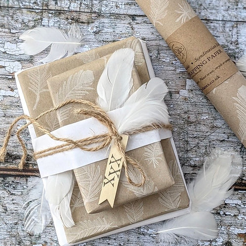 White Feather Kraft Wrapping Paper