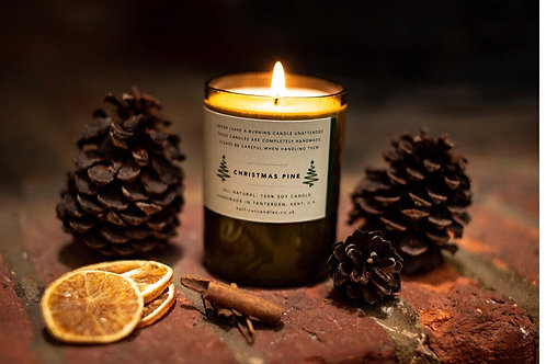 Half Cut Candles Christmas Pine