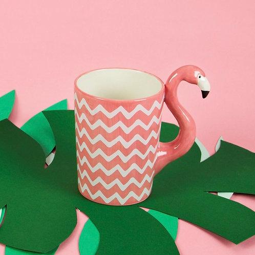 Hand finished pink flamingo mug