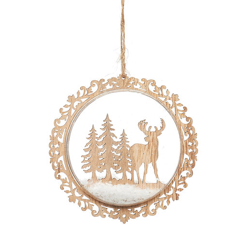 Natural Wood Stag in Flat Bauble