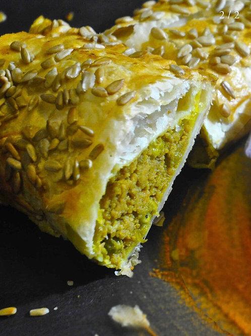 Vegan sweet potato and pea curry roll