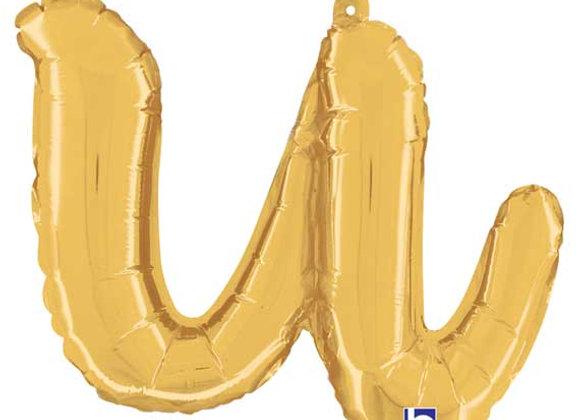 """34721GP - 14"""" Script Letter """"u"""" Gold"""