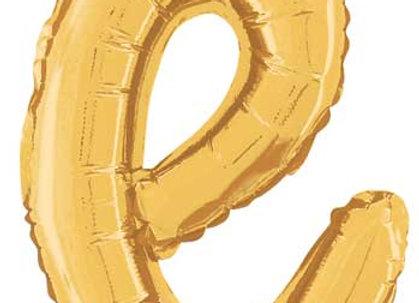 """34705GP - 14"""" Script Letter  """"e"""" Gold"""