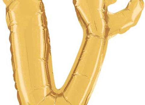 """34722GP - 14"""" Script Letter """"v"""" Gold"""
