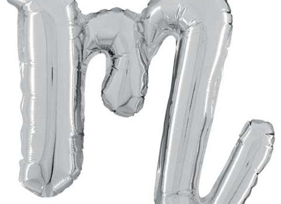 """34713SP - 14"""" Script Letter  """"m"""" Silver"""